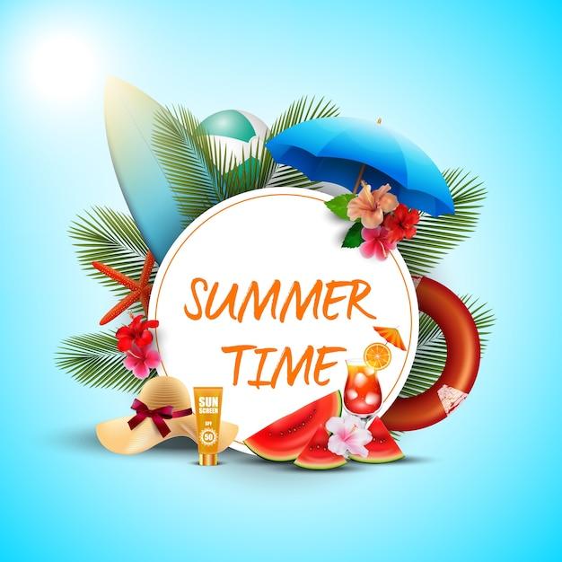 Conception d'affiche de l'heure d'été avec des éléments blancs ronds et plage