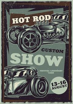 Conception d'affiche avec hot rod personnalisé