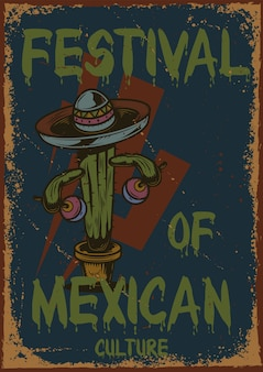 Conception d'affiche avec illustration d'un cactus avec des maracas