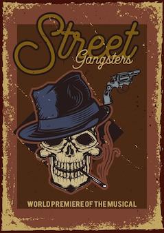 Conception d'affiche avec illustration d'un crâne avec un chapeau et une cigarette