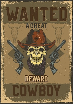 Conception d'affiche avec illustration du crâne de cow-boy avec des fusils sur fond poussiéreux.