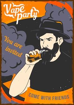 Conception d'affiche avec illustration d'un homme tenant une vape dans sa main et un nuage de vapeur derrière son dos.