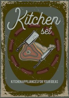 Conception d'affiche avec illustration d'un morceau de viande et d'un couteau.