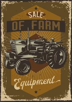 Conception d'affiche avec illustration de publicité avec un tracteur