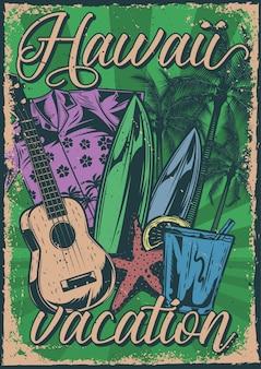 Conception d'affiche avec illustration de trucs de vacances sur fond vintage.