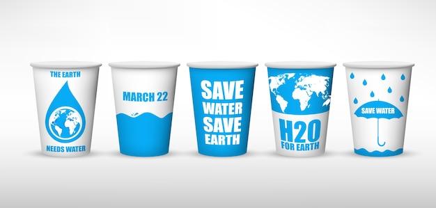 Conception de l'affiche de la journée mondiale de l'eau avec la coupe à eau collections