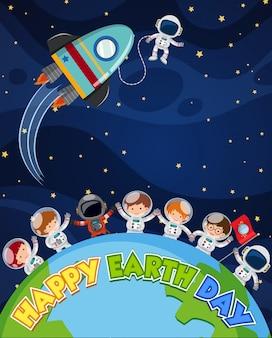 Conception d'affiche joyeuse journée de la terre avec des astronautes sur terre