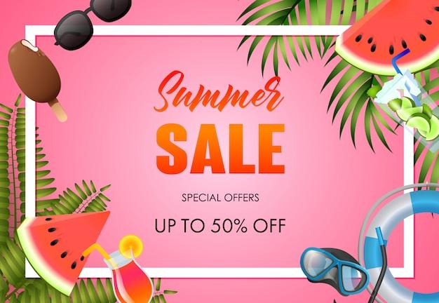 Conception d'affiche lumineux de vente d'été. bouée de sauvetage, pastèque