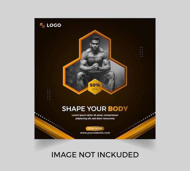 Conception d'affiche de médias sociaux d'entraînement de gym