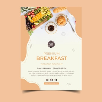 Conception d'affiche de menu de petit déjeuner