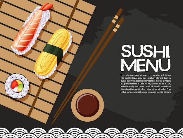 Conception d'affiche avec menu de sushi