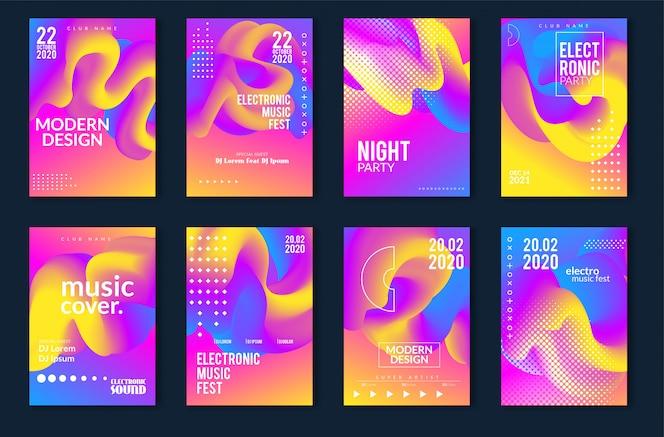 Conception d'affiche minimale pour le festival de musique électronique. fond de lignes pointillées colorées modernes pour flyer, couvrir. illustration vectorielle