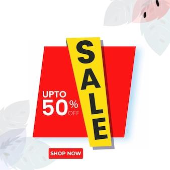 Conception d'affiche ou de modèle de vente avec une offre de réduction de 50 % sur fond floral blanc.