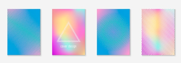 Conception d'affiche moderne. livret élégant, pancarte, rapport annuel, mise en page des dossiers. holographique. conception d'affiches moderne avec des lignes et des formes géométriques minimalistes.
