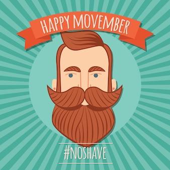 Conception d'affiche movember, sensibilisation au cancer de la prostate, homme hipster avec barbe et moustache
