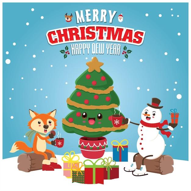 Conception d'affiche de noël vintage avec arbre vectoriel santa claus fox bonhomme de neige renne