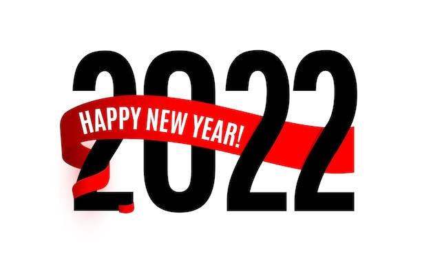 Conception d'affiche de nouvel an avec des nombres souhait de bonne année sur le vecteur d'écharpe d'hiver de ruban rouge