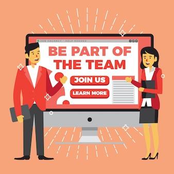 Conception de l'affiche de l'offre d'emploi sur le thème rouge