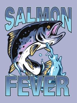 Conception d'affiche de pêche au saumon