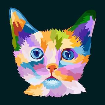 Conception d'affiche de portrait de chat pop art imprimé animal