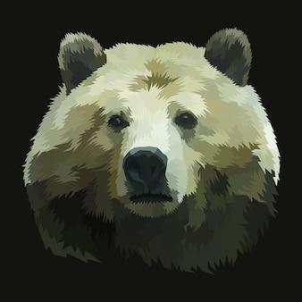 Conception d'affiche de portrait d'ours d'impression d'animal