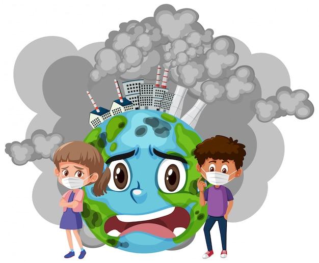 Conception d'affiche pour arrêter la pollution avec les enfants et la terre triste