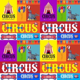 Conception d'affiche pour le cirque avec tente et animaux