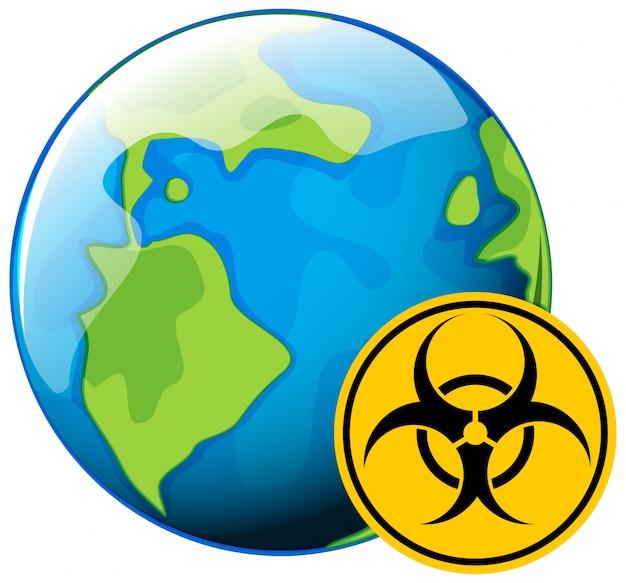 Conception d'affiche pour le thème des coronavirus avec signe de danger biologique sur terre