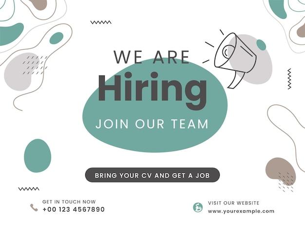Conception d'affiche publicitaire abstraite pour nous embauchons rejoignez notre équipe.
