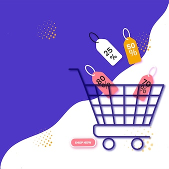 Conception d'affiche publicitaire avec chariot de courses, différentes étiquettes de remise sur fond violet et blanc à vendre.