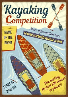 Conception d'affiche publicitaire avec illustration de kayaks sur la rivière