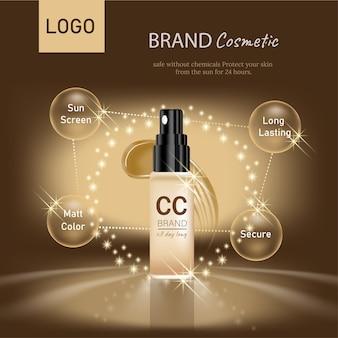 Conception d'une affiche publicitaire pour un produit cosmétique pour le catalogue conception d'un emballage cosmétique publicité