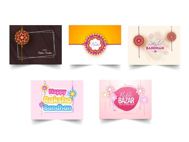 Conception d'affiche raksha bandhan avec un beau rakhi (bracelet) en cinq options.