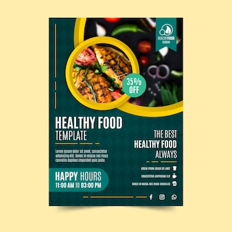 Conception d'affiche de restaurant de nourriture saine
