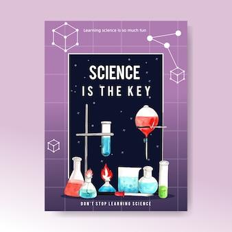 Conception d'affiche scientifique avec illustration d'aquarelle de fournitures de laboratoire.