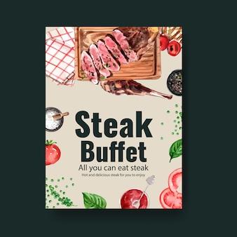 Conception d'affiche de steak avec des serviettes, illustration aquarelle de steak de boeuf.