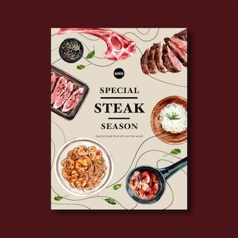 Conception d'affiche de steak avec des spaghettis, illustration aquarelle de steak.