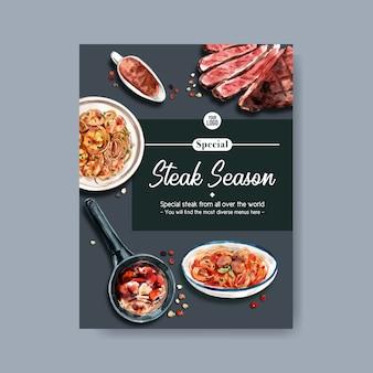 Conception d'affiche de steak avec steak, illustration aquarelle de spaghetti.
