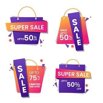 Conception d'affiche de super vente avec la meilleure offre de remise et des sacs à provisions en quatre options.