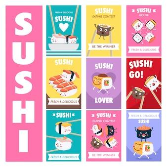 Conception d'affiche de sushi de dessin animé