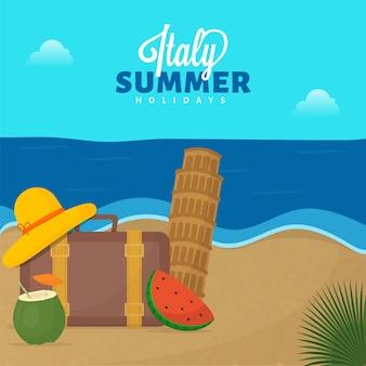 Conception d'affiche de vacances d'été en italie avec chapeau féminin, valise, tranche de pastèque, boisson à la noix de coco et tour de pise sur fond de plage.