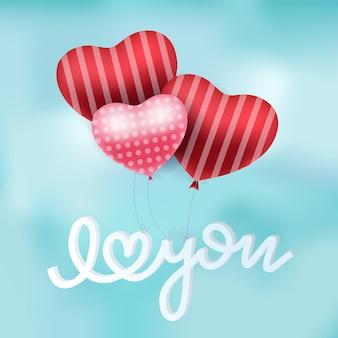 Conception d'affiche de vecteur de ballons coeur rouge saint valentin avec flottant je t'aime typographie de texte dans le ciel bleu