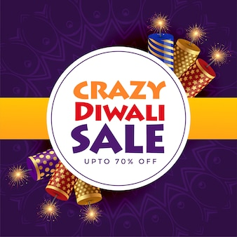 Conception d'affiche de vente fou diwali avec des craquelins