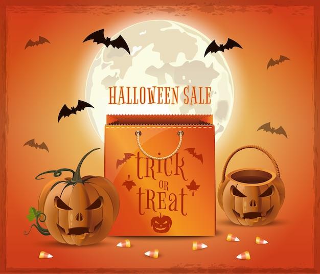 Conception d'affiche de vente halloween. shopping d'halloween. des bonbons ou un sort.
