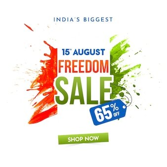 Conception d'affiche de vente de liberté du 15 août avec offre de remise de 65 ans, effet de pinceau vert et safran
