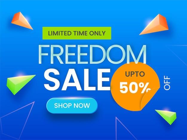Conception d'affiche de vente de liberté avec une offre de remise de 50 et des éléments triangulaires 3d