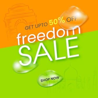 Conception d'affiche de vente de liberté avec offre de remise de 50, gouttes d'eau sur fond vert et safran.