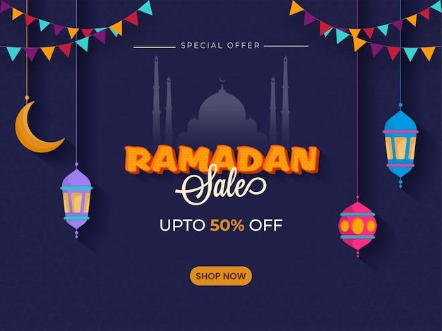 Conception d'affiche de vente ramadan avec une offre de réduction de 50%