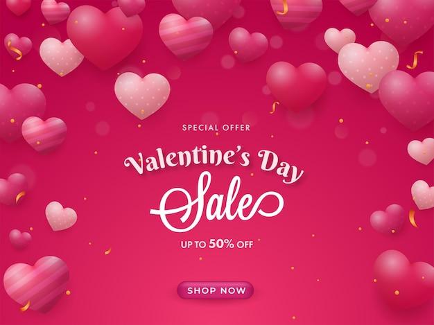 Conception d'affiche de vente de la saint-valentin avec une offre de réduction de 50%