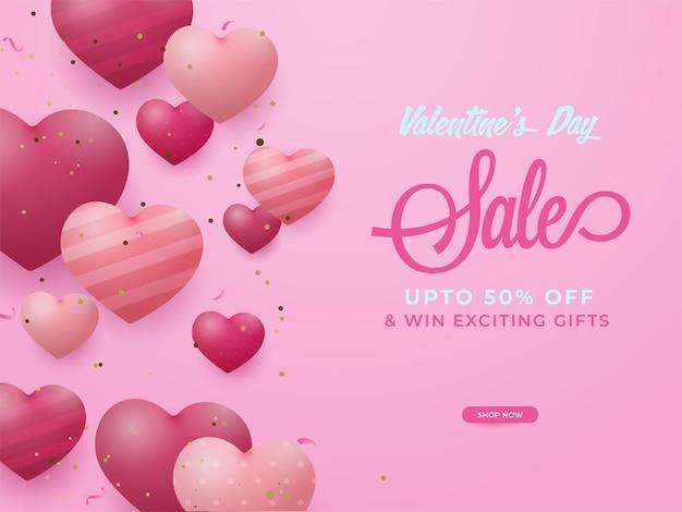 Conception d'affiche de vente saint valentin avec offre de réduction et coeurs brillants sur fond rose.